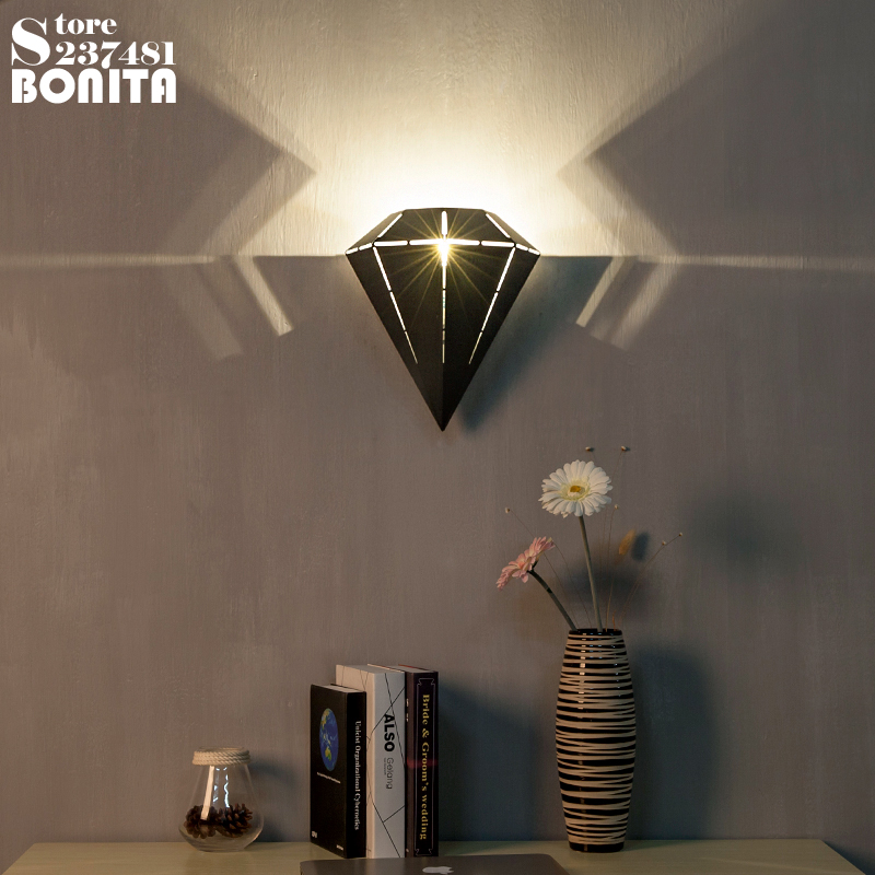 Nordic Simplicity Iron Lighting Bright Diamond Wall Lights For Bedroom Black / white Projection Art Sconces Wall L&s-in LED Indoor Wall L&s from Lights ... & Nordic Simplicity Iron Lighting Bright Diamond Wall Lights For ...