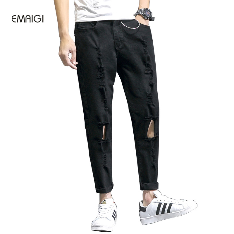 Hole Destroyed Iron Ring Jeans Brand Male Casual Loose Ripped Black Jeans Homme Retro Men s