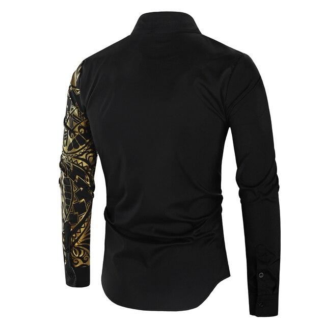 Luxury Gold Black Shirt Men New Slim Fit Long Sleeve Camisa Masculina Gold Black Chemise Homme Social Men Club Prom Shirt 2