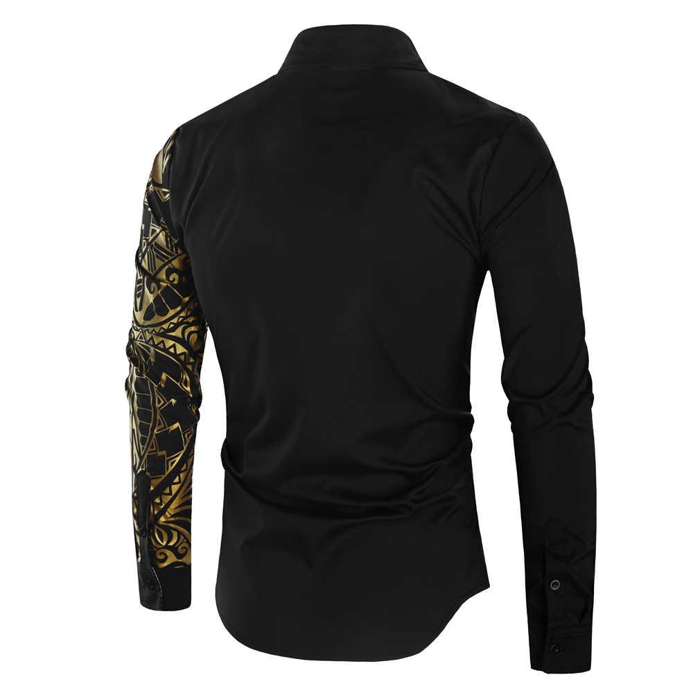 Luxe or noir Chemise hommes nouveau coupe ajustée à manches longues Camisa Masculina or noir Chemise Homme Social hommes Club bal Chemise
