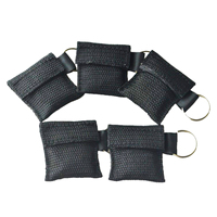 100Pcs/Pack CPR Mask Keychain Ring Emergency Kit Rescue Face Shields For First Aid Or AED Training With Black Pouch Healthy Care