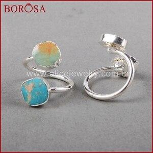 Image 5 - BOROSA 5/10 adet Vintage % 100% doğal mavi taş yüzük, gümüş renk doğal Turquoises yüzük ayarlanabilir yüzük Druzy takı S0183