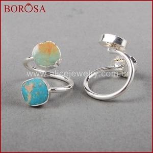 Image 5 - BOROSA 5/10PCS Vintage 100% טבעי כחול אבן טבעת, כסף צבע טבעי טורקיז טבעות מתכוונן טבעות Druzy תכשיטי S0183