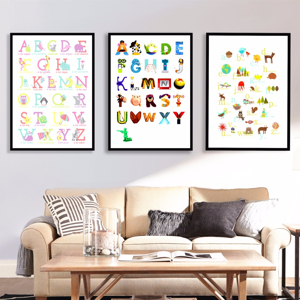 animals kids alphabet canvas art print painting poster wall pictures for kids room decor home. Black Bedroom Furniture Sets. Home Design Ideas