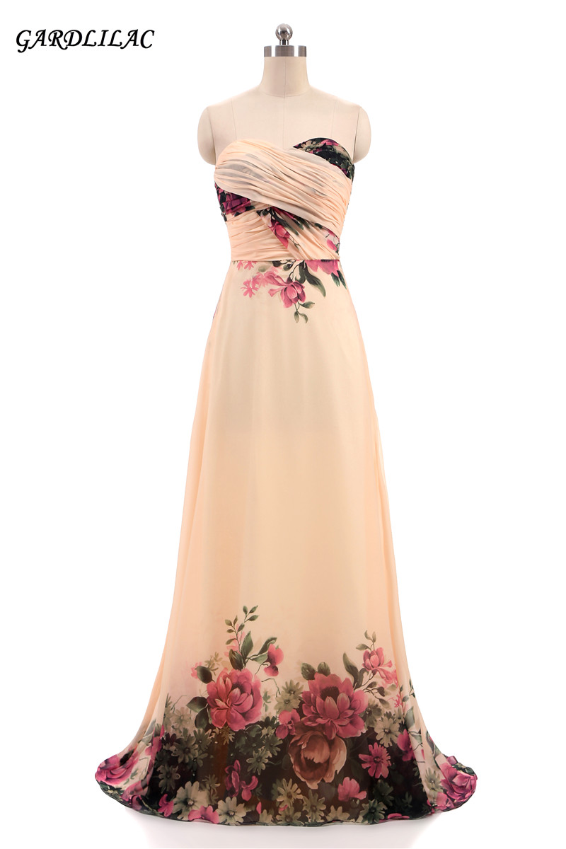 Women Elegant Chiffon Sweetheart Beach Long Prom   Dress   2018 Floral Printed   Evening     Dresses   Graduation Gowns Wedding Party Gown