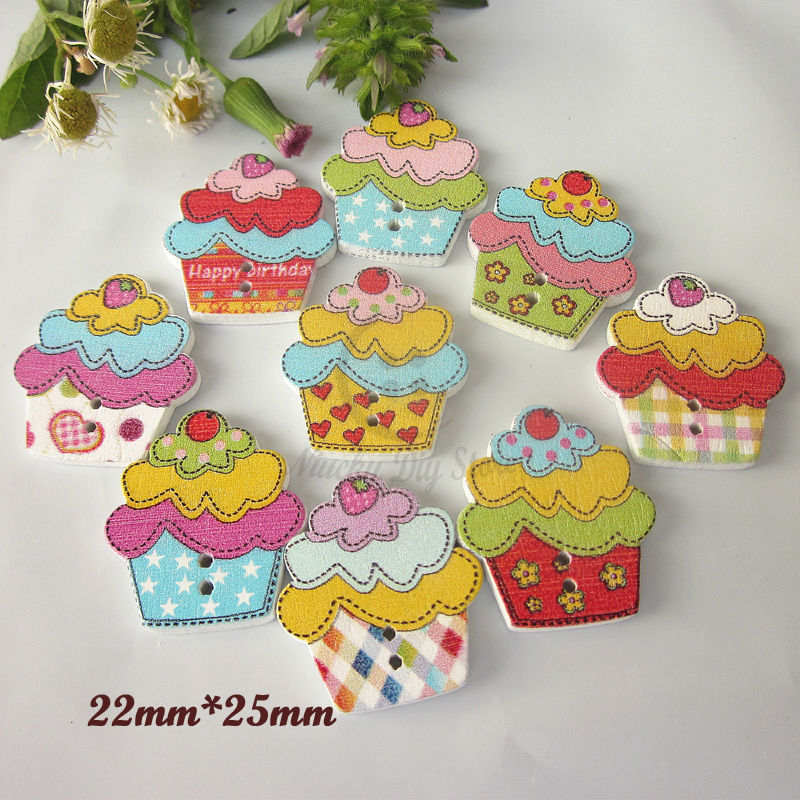 Scrapbooking Materials 50pcs Mixed Cake Buttons Wood Painting