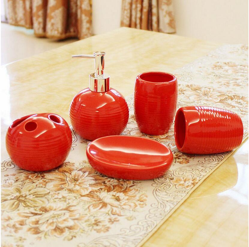 Us 280 20 Off5 Sztukzestaw Czerwone Chiny Czarny Białe Nici Kwiatowe Wzory Ceramika Akcesoria łazienkowe Uchwyt Na Szczoteczki Do Zębów Prezenty