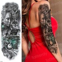 Tattoo-Sleeves Compass Skull Temporary-Tattoos Body-Art Women Halloween for Large