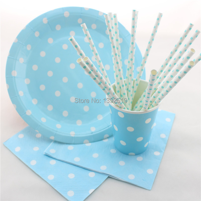 Free Shipping 100sets/416pcs Baby Blue Children Birthday Party Fovor Polka Dot Party Tableware Straws Plates Cups Napkins-in Disposable Party Tableware from ...  sc 1 st  AliExpress.com & Free Shipping 100sets/416pcs Baby Blue Children Birthday Party Fovor ...