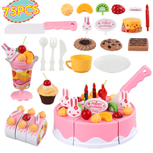 75pcs/set large size Birthday cake toy baby plastic  miniature food  play kitchen toys for children