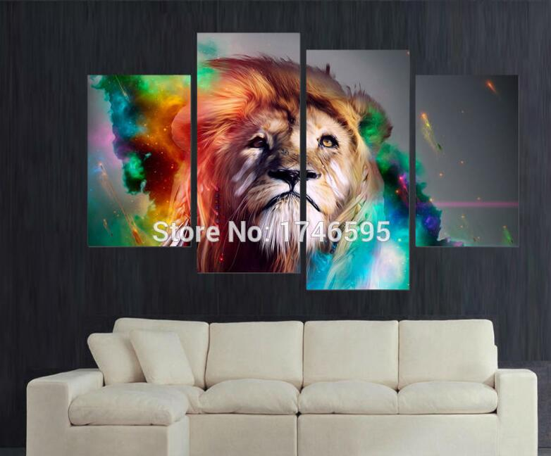 4pcs Modern Living Room Decor Home Decoration Colorful Lion King Wall Art  Picture Printed Painting On Canvas Art Print  In Painting U0026 Calligraphy  From Home ...