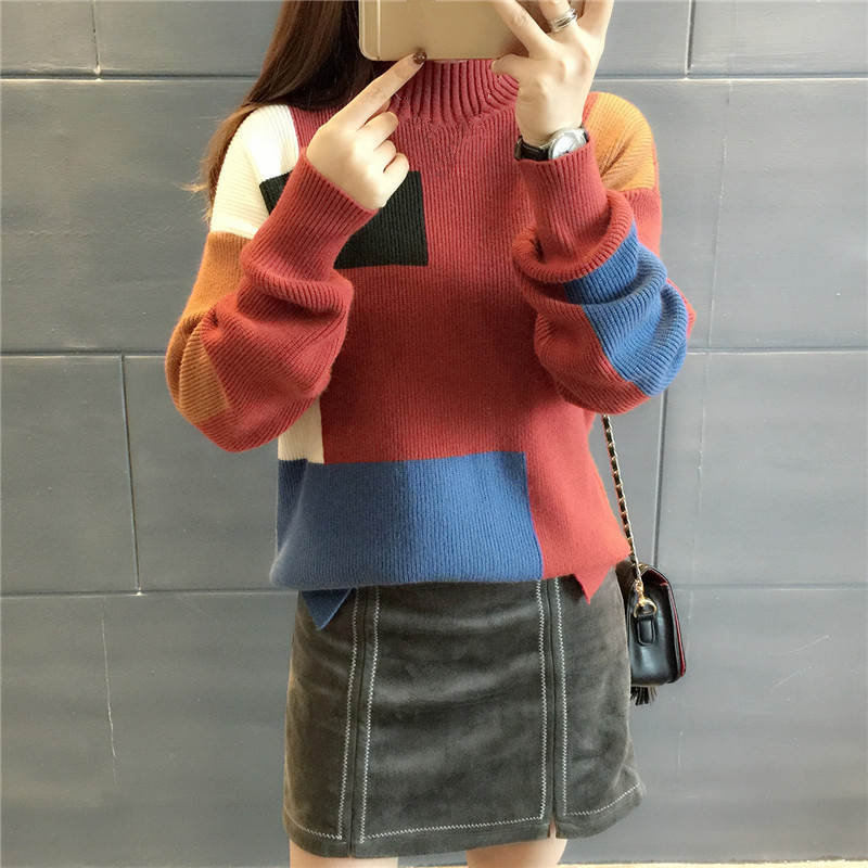 18 Women Sweaters And Pullovers Elegant Turtleneck Sweater Women Jumper Autumn Mixed Colors Knitted Pullover Pull Femme C3682 10