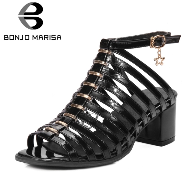 ee635c4ca954bc BONJOMARISA 2019 Brand Large Size 33-43 Patent Pu Summer Gladiator Sandals  Women Hot Sale Black High Wide Heels Shoes Woman
