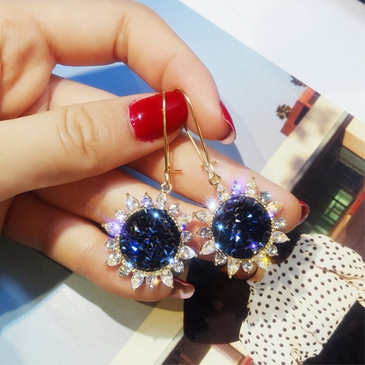 2020 New Fashion Jewelry Sun Flower Inland Zircon Earrings Female Crystal From Austrian Temperament Fit Women For Party