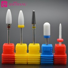 MAOHANG Ceramic and carbide nail drill bit milling cutter for electric drill file manicure machine remove gel polish varnish 10pcs round grinding stone head nail drill bit 3 32 for electric manicure cutter machine dead skin nail file remove polish