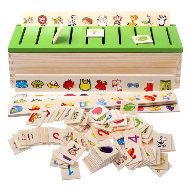 Juego de aprendizaje Montessori bebé juguetes educativos temprano con caja de almacenamiento clasificación de madera para 3 + niños