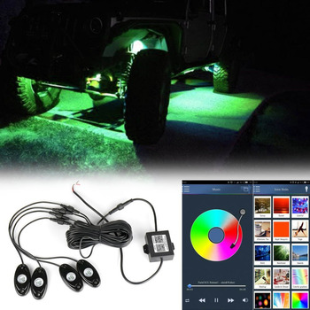 RGB LED Rock Lights APP Bluetooth Control with 4 pods Lighting Bar for Jeep Offroad Trucks Car ATV SUV Vehicle Boat Interior