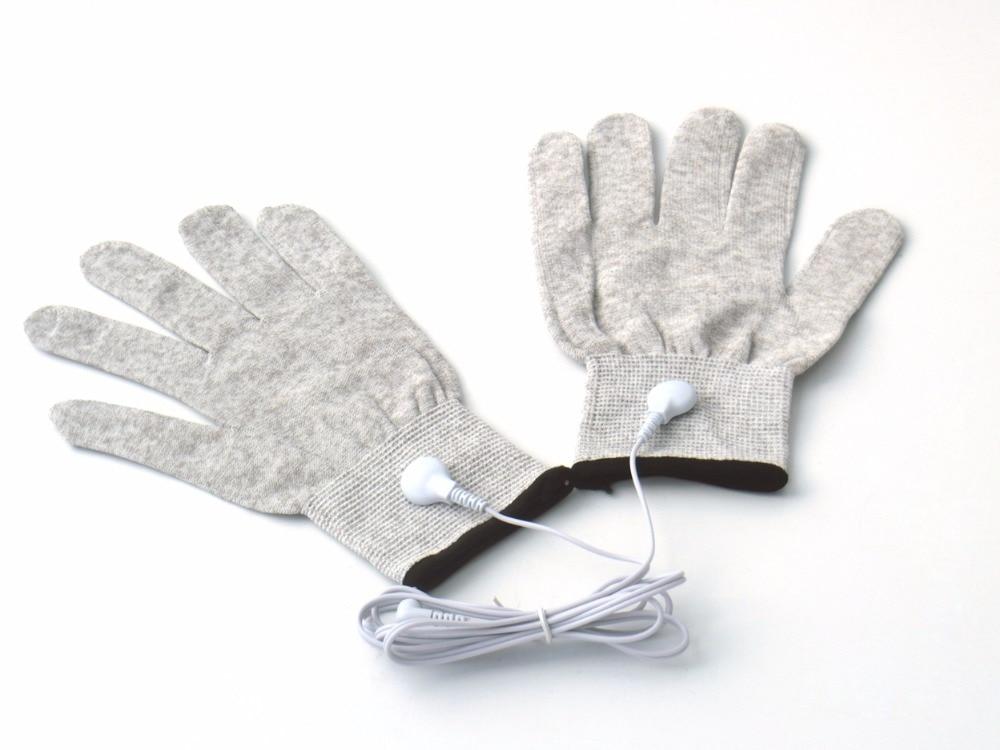 купить 1Pairs Electrode Conductive Massage Gloves Magic Pulse Silver Fiber Massage Gloves Use With Tens Digital Therapy Machine Device недорого