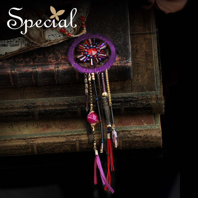 Special New Fashion Dreamcatcher Jewelry Multi-layer Maxi Necklace Purple Long Necklaces & Pendants for Girls Women XL150921