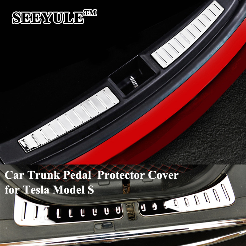 1 pair SEEYULE Car Front Rear Trunk Trim Pedal Protector Cover Stainless Steel Chromed Scuff Pedal for Tesla Model S Accessories for nissan xterra paladin 2002 2017 rear trunk security shield cargo cover high quality car trunk shade security cover