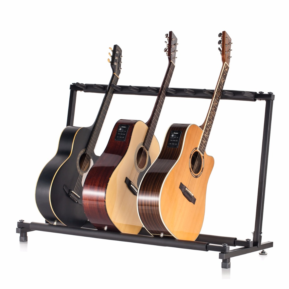 все цены на EMS Free shipping Stable Multiple Folding Display Holder Stand Rack Band Stage for Guitar Bass 9 guitars parts Accessories онлайн