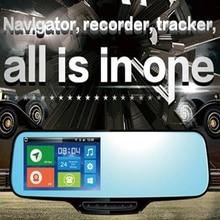 1080 p 3g android cinta espelho monitor com câmera dupla para all-in-one google mapa de navegação gps tracking & recorder móvel ao vivo