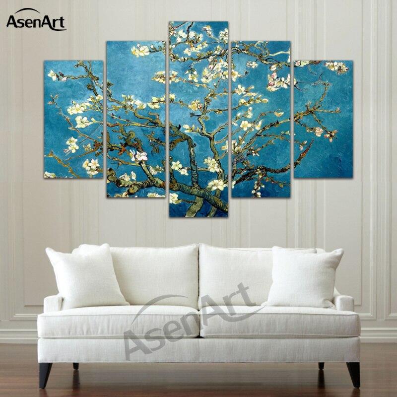 5 pannello di Arte della Tela di Van Gogh Riproduzioni Della Pittura A Olio di Albicocca Fiore Stellato di Notte Della Parete Immagini Stampe Su Tela Senza Cornice