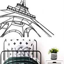 Exquisite eiffel tower Wall Stickers Personalized Creative Living Room Children Room Decoration Accessories Murals цена 2017