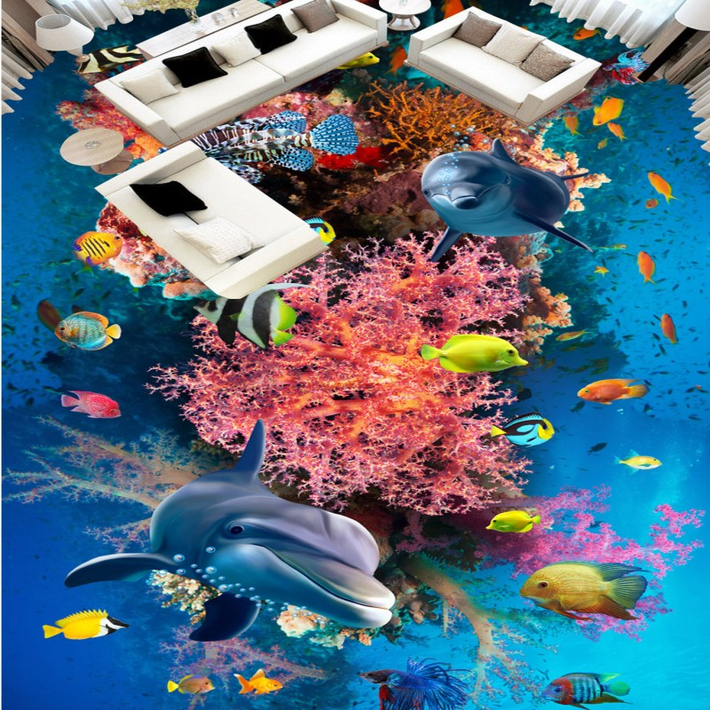 Free shipping custom Sea World square living room painting floor stereo marine tropical fish self-adhesive wear floor wallpaper корм tetra tetramin xl flakes complete food for larger tropical fish крупные хлопья для больших тропических рыб 10л 769946