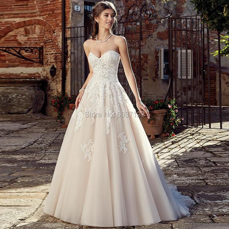 A Line Wedding Dresses Strapless Sweetheart Sleeveless Lace Appliques Backless Bridal Wedding Gown Custom Vestido De Noiva