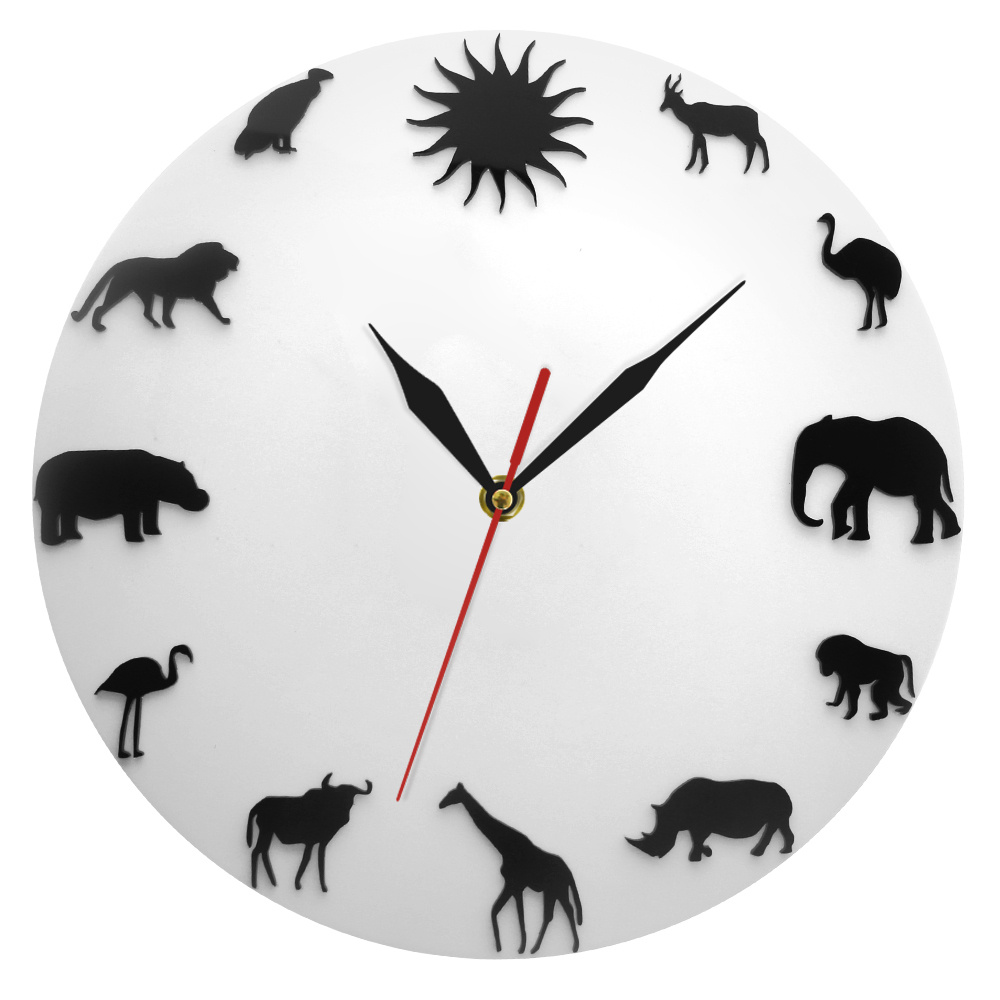 African Animals Silhouette Wall Clock Safari Wild Animals Minimalist Design Modern Wall Clock Kid Room Nursery Wall Watch Clock