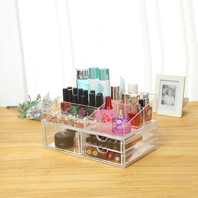 New Clear Plostic Acrylic Drawer Jewelry Cosmetic Organizer Make Up