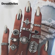 10pcs/Set Bohemia Antique Gold Silver Arrow Leaf Carved Rings Sets Rhinestone Knuckle for Women Charm Jewelry