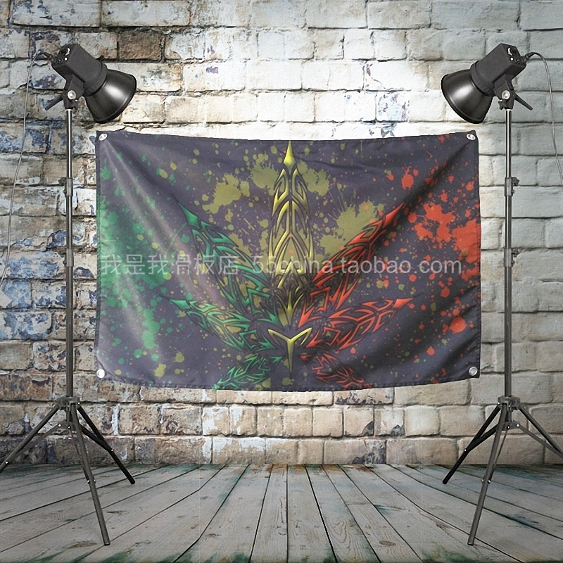 Jamaica Reggae Pop Rock Band Poster Big Four Hole Hanging Cloth Flags Personality Banners Music Studio Bar Cafe Home Decor