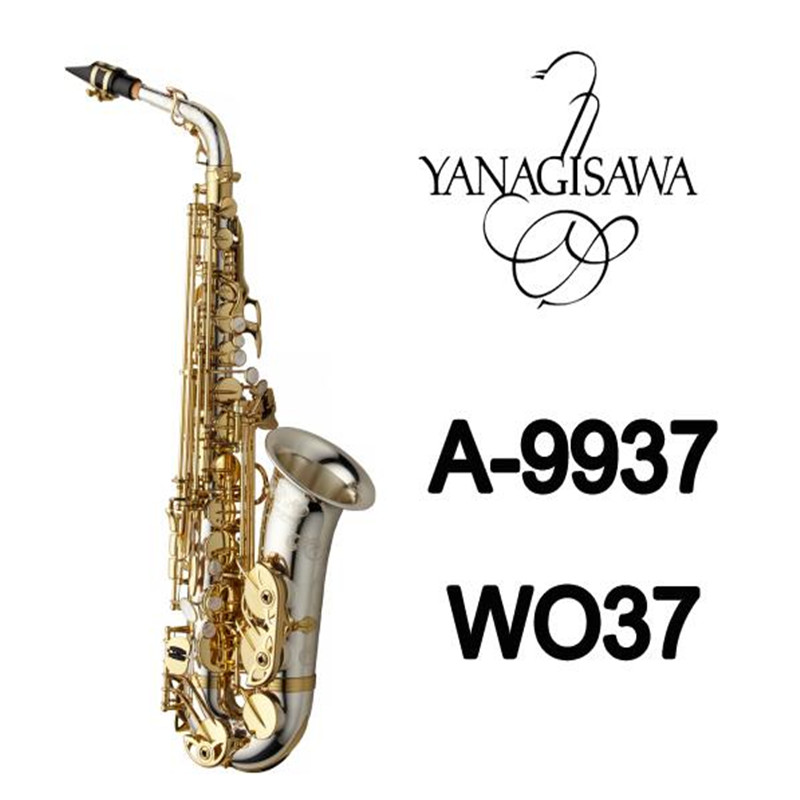 Brand NEW YANAGISAWA A-WO37 Alto Saxophone Nickel Plated Gold Key Professional Sax Mouthpiece With Case and Accessories professional selmer 54 bb tenor saxophone brass concert music instrument sax nickel plated shell buttons with case mouthpiece