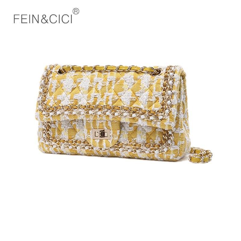 tweed chains bag yellow flap bag messenger bag women knitting party handbag 2018 summer autumn luxury brand lady crossbody bags цена 2017