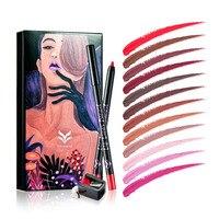 Party Queen 12 pçs/set Multicolor Lip Liner Pencil Funcional Sobrancelha Profissional lábio Maquiagem Ferramentas de Cosméticos