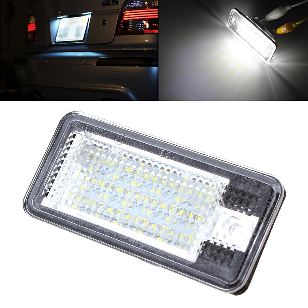 New Universal 2 PCS DC 12V SMD3528 Car License Plate Light for Audi A6 C6 Q7 A4 B7 A4 B6 8E A3 S3 A8 S8 S6 RS4 RS6 smaart v 7 new license