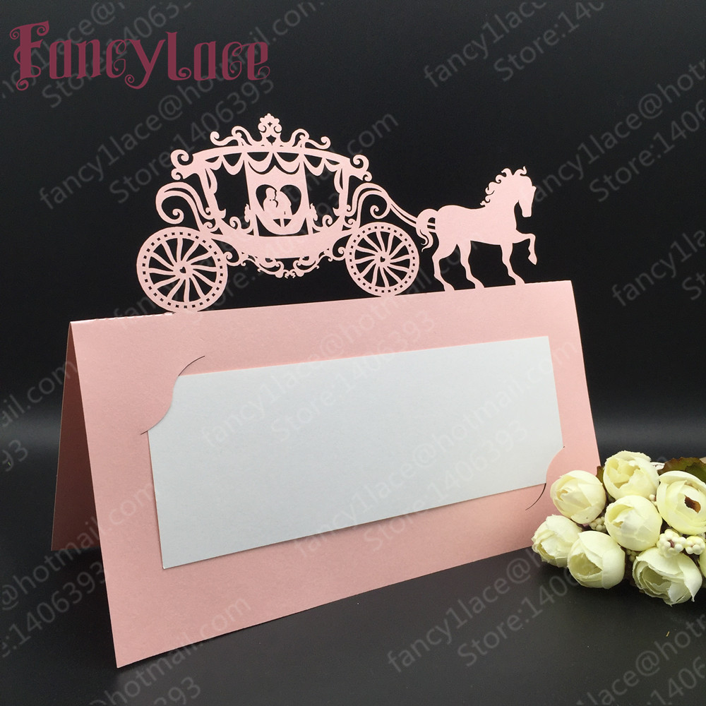 50pcs Carriage Laser cut Wedding invitations Table Name Place Cards Table Decoration Mariage favors And Gifts Party Supplies