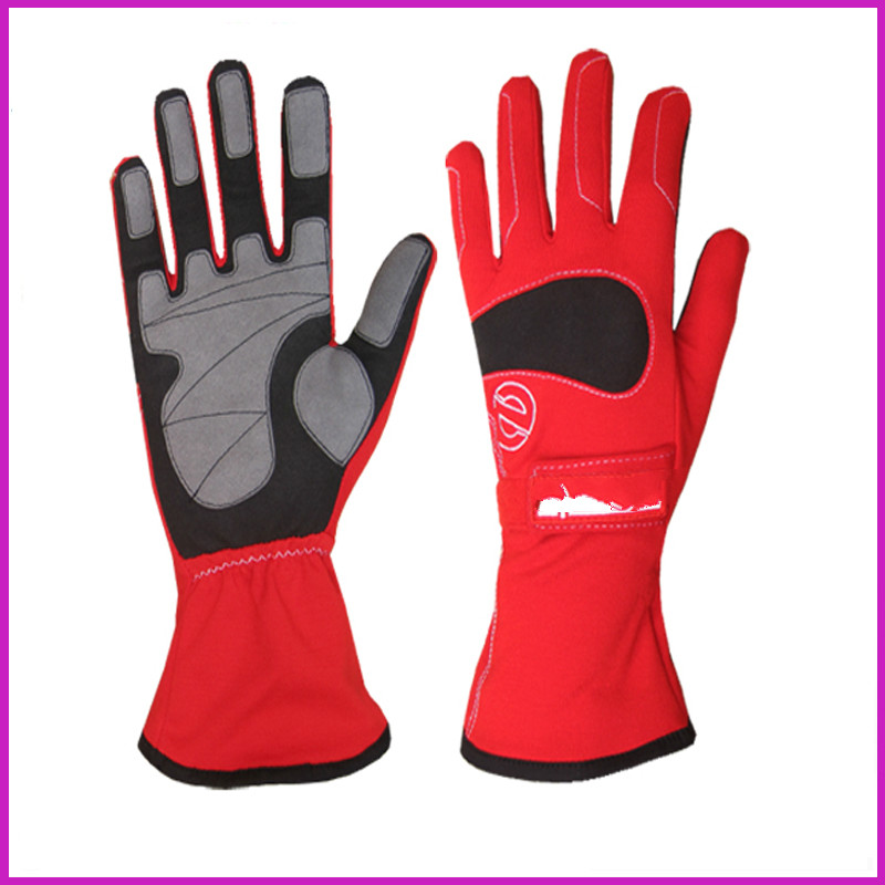 Free shipping Newest Kart Racing Glove sport karting glove professional Car Racing Glove 3 colour Red