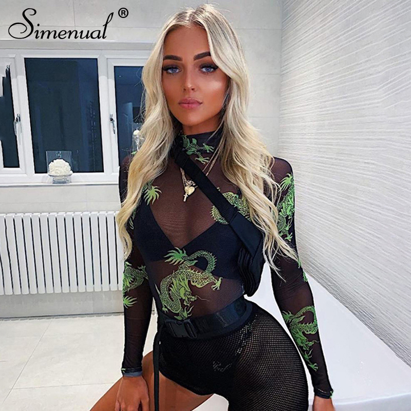 Simenual Mesh Transparent Bodycon Sexy   Jumpsuits   Women Long Sleeve Printed Bodysuit Hollow Out Hot Fashion Fitness Bodysuits New
