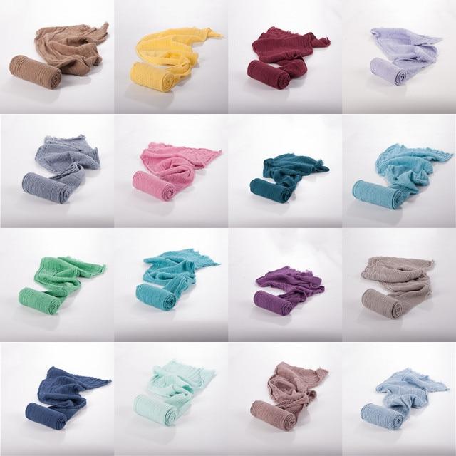 Stretch Baby Photography Props Blanket Wraps Organic Cotton Wrap Soft Infant Newborn Photo Wraps Cloth Accessories 40*180cm Infant (3-12 months) Newborn (0-3 months) Nursery Shop by Age Swaddle Blankets