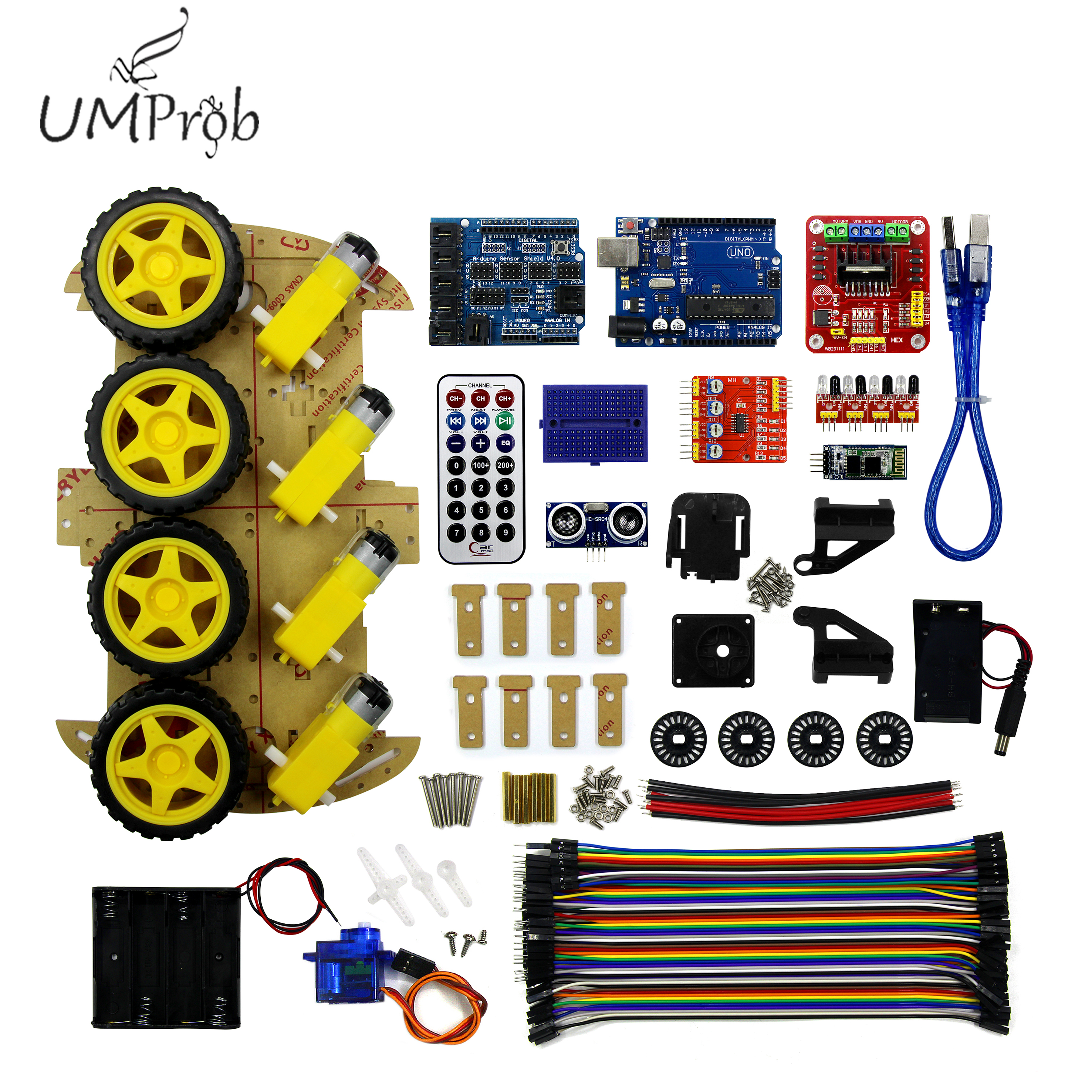4WD  Bluetooth Multi-functional DIY Smart Car for arduino Robot Education UNO R3 Starter Kit
