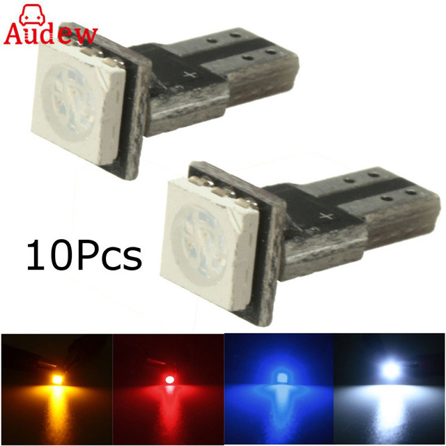 10Pcs Car 12V T5 5050(286) SMD Non Canbus LED Wedge Light Bulbs White Blue Red Yellow interior Lamp LED Lamp Bulbs