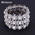 Minlover Silver Plated Crystal Stretch Bracelet Bangle for Women Rhinestone Wedding Jewelry Christmas Gift SL110