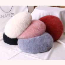 New Fashion Cheap Rabbit Fur Winter Beret Hat for Women Knitted Hat fashion