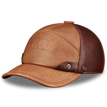 HL063 Mens  genuine leather baseball cap brand new spring real cow golf caps hats