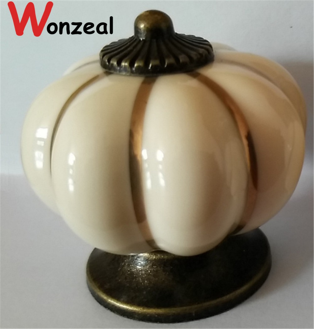 Dia.40mm Pumpkin ceramic knob Beige Color Single Hole knob Zinc alloy Kitchen Furniture knob drawer knob 10pcs kitchen furniture pull pumpkin shape pastoralism ceramic knob various color single hole knobdrawer knob dia 40mm