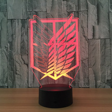 Attack on Titan Badge 3D Novelty LED Nightlight Home Decor Table Lamp 3D Visual Night Light for Child Gift