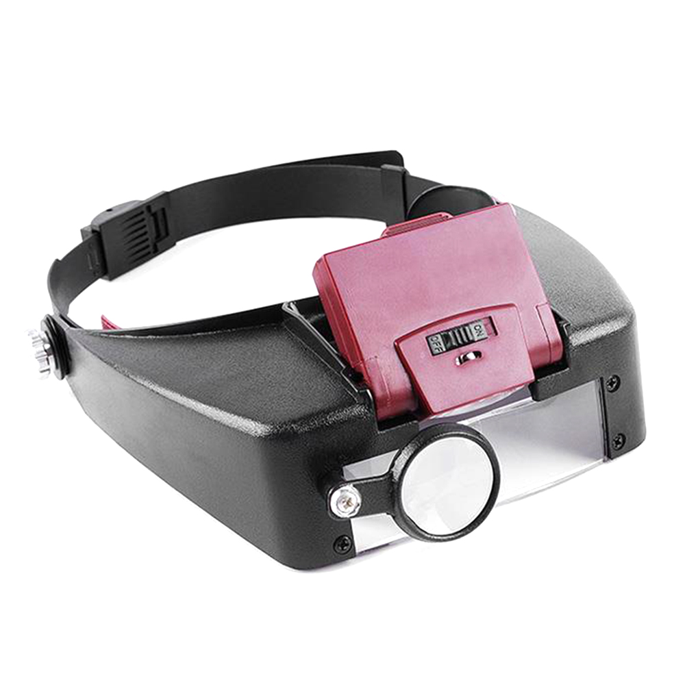 Adjustable Head Headband Lamp Magnifier Illuminated Magnifying Eye Glasses Lens Loupe 2 LED Light Visor Repair Precision Work
